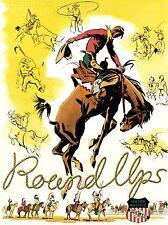 Impresión De Viaje Tren Ferrocarril anuncio Rodeo Bronco Cowboy Nativa Americana Usa nofl1384