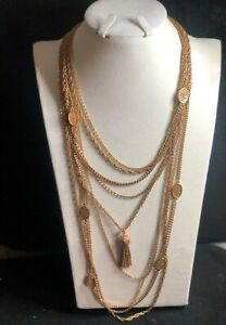 Vintage Monet Multi-Strand Gold Plated Statement Tassel Necklace NINE STRANDS