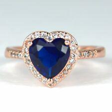 Para mujeres Rosa Oro Plateado Anillo de cristal corazón azul tamaño de Reino Unido T