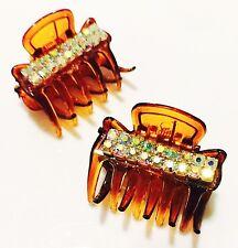 USA Seller Handmade Hair Claw Clip Hairpin Rhinestone Crystal Brown AB Q1