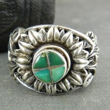 ATI Sterling Silver Sunflower Ring with Green Stone