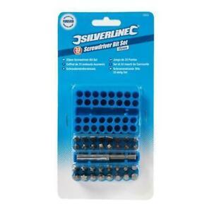 Silverline Screwdriver Bit Set 33 PCE Hex Torx Pozi Flat Phillips Great Value