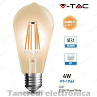 Lampadina led V-TAC 4W = 35W E27 VT-1964 ST64 filamento lampada vintage ambrata