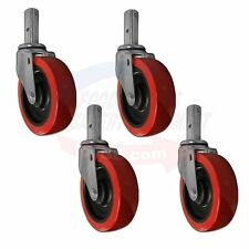 "Set of 4 Heavy Duty Stem Caster 5"" x 1- 1/2"" Red Polyurethane Wheel."