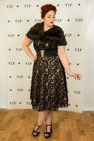 Beautiful vintage style nude & black illusion strapless tea length dress size 16