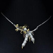 Baroque Pearl Aquamarine Chrome Diopside Rhodolite 925 Sterling Silver Necklace