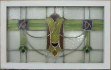 "OLD ENGLISH LEADED STAINED GLASS WINDOW TRANSOM Stunning Swag 32.5"" x 20.5"""