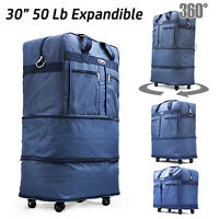 """30"""" Expandable Rolling Duffel Bag Wheeled Spinner Suitcase Luggage New Blue"""
