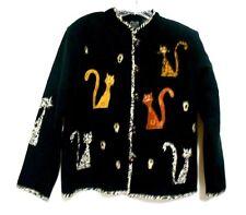 Daniel K Black Medium Cotton Mandarin Collar Cat Applique Lined Blazer Jacket