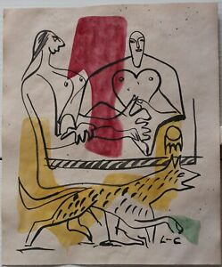 Ink drawing watercolor signed L-C LE CORBUSIER