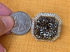 Golden Druzy ring surrounded by Austrian Crystals size 10