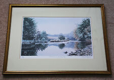 A large signed LE colour print by Sally Maynard 'Tranquillity on the River Exe'