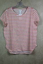 6c8013ffb4f65 H M Basic Women s Peach White Stripe Crewneck Short Sleeve T Shirt Sz S B8b3