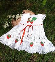 Crochet baby girls summer strawberry outfit Dress Hat Shoes Set 6 m