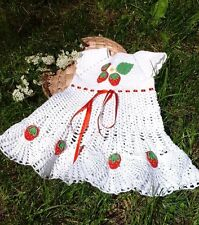 Baby girls strawberry outfit Dress Hat Shoes Crochet Set 6 m newborn girl outfit