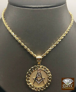 REAL 10k Yellow Gold 30 Inch Rope Chain Necklace&10k Cuban Masonic Charm Pendent