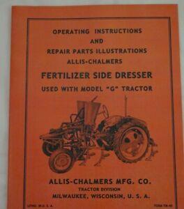 Allis Chalmers G Tractor Side Dresser Owner's Parts Manual Fertilizer Unit