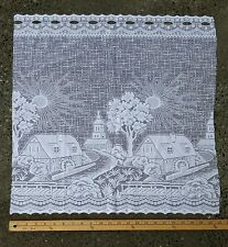 Country Grist Mill Bridge Scene Lace Curtain Border Valance Panel Fabric 22 x 22