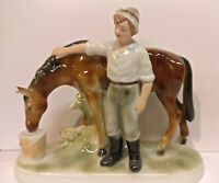 9942920-ds Porcelain Figurine Builder With Horse Wagner&Apel Thuringia H19cm