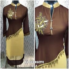 "40"" M L Kurthy Kurti Kurtis Top Tunic Kaftan Bollywood Indian Chiffon Brown A17"