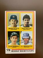 "1978 Topps #707 ""Rookie Shortstops"" with Paul Molitor, HOF & Alan Trammell, HOF"