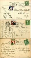 USA Christmas Seals Cancelled on Post Card Cover Set 1919 1920 1923 Postage