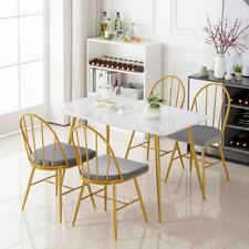 Modern Dining Table and 4 Chairs Set Metal legs Dining Room Chair White Kitchen