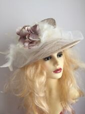 BEIGE CREAM HAT FEATHERS WEDDING NETTING