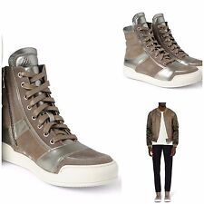 Rare&Great Balmain AW13 Taupe Suede and Metallic Silver Leather High-Top Sneaker