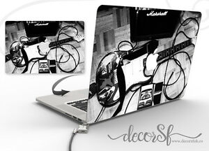 Vintage Electric Guitar Black & White Design | Macbook 13 Vinyl Sticker lid wrap