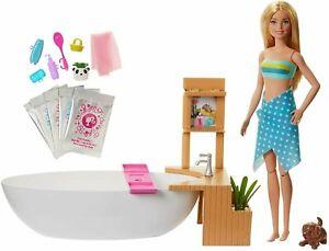Barbie Fizzy Bath Doll & Playset, Blonde, with Tub, Fizzy Powder, Puppy & More