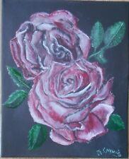 """tableau peinture huile sur toile """"Roses sur fond noir"""" signé M.Gravier certifié"""