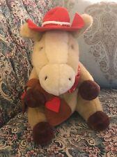 "13""  Rare Hallmark Cowboy Wrangler Horse Plush Red Hat Hearts Love Valentine #D9"