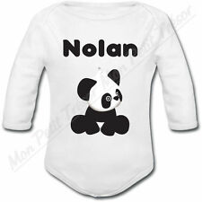 Body Bébé Panda avec prénom ou texte personnalisé