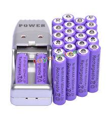 24X Batería recargable NiMH AAA 3A 1800mah 1.2V púrpura + Cargador USB