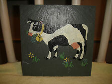 Cape Cod Stencil Co. Painted Cow On Slate Rock-Folk Art Cow Painted On Tile