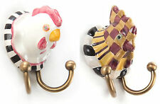 MacKenzie-Childs Double Wall Hook-Choice Of Chicken Or Rooster-w/Hardware