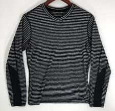 Lululemon Mens Long Sleeve Striped V Neck Shirt Size Small Black Gray EUC