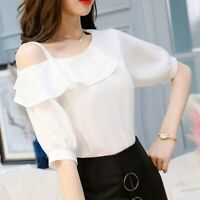Women Chiffon Sexy Ruffle One Shoulder Short Sleeve T-Shirt Ladies Summer Blouse