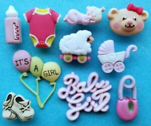 BABY GIRL Craft Buttons Galore Pram Nappy Pin Balloons Bear Bottle Vest Novelty