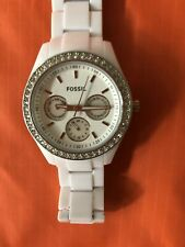 Fossil Stella Watch White Resin, Quartz 5 ATM 1967. New Battery Installed. Mint