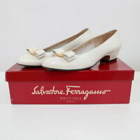 Salvatore Ferragamo Lillaz Vara Pumps Womens Bow White Leather 8.5 AA Classic