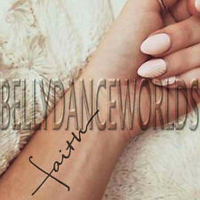 1 SET OF 3 FAITH SCRIPT TATTOO QUOTE TEMPORARY TATTOO BODY WRIST FOREARM STICKER