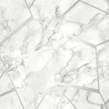 Fractal geométrico Mármol Papel pintado PLATA - Fino Decoración fd42263 metálico