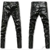 Men's casual skinny Zipper Pants Fashion Slim Fit PU Leather Trousers Size 28-36