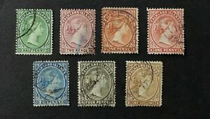 Falkland Islands 1878 Queen Victoria Stamps x 7  - Used