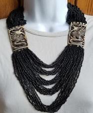 TIBETAN TRIBAL RESIN MULTI STRAND BEADS GYPSY DRAGON NECKLACE 22'' Black Ivory
