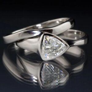7.5mm Trillion Cut Moissanite Silver Diamond Halo Bridal 925 Enagement Ring Set