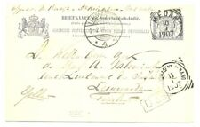 DUTCH INDIES=1907 PS-C = MEDAN = N.I. POSTAGENT PENANG = TO HOLLAND --F/VF