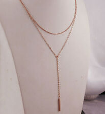 18k 18ct Rose Gold GF Vertical Bar Layered Multi Chain Y Necklace